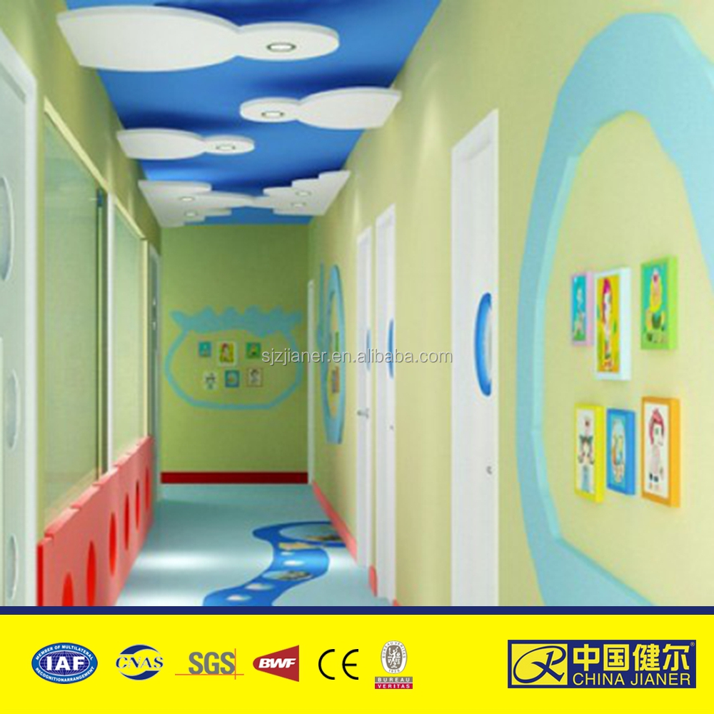 PVC roll colorful nursery school vinyl flooring