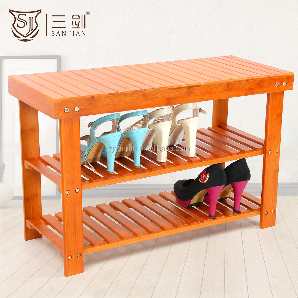 2016 High Quality Storage Bamboo Shoe Bench & Stool With Seat