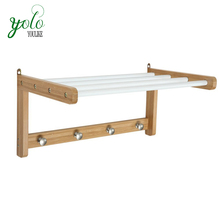 Strong and durable bathroom accessories wall mount hanging wood bamboo towel rack