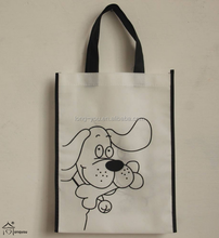 cute cartoon pictures printing non woven gift shopping bag foldable