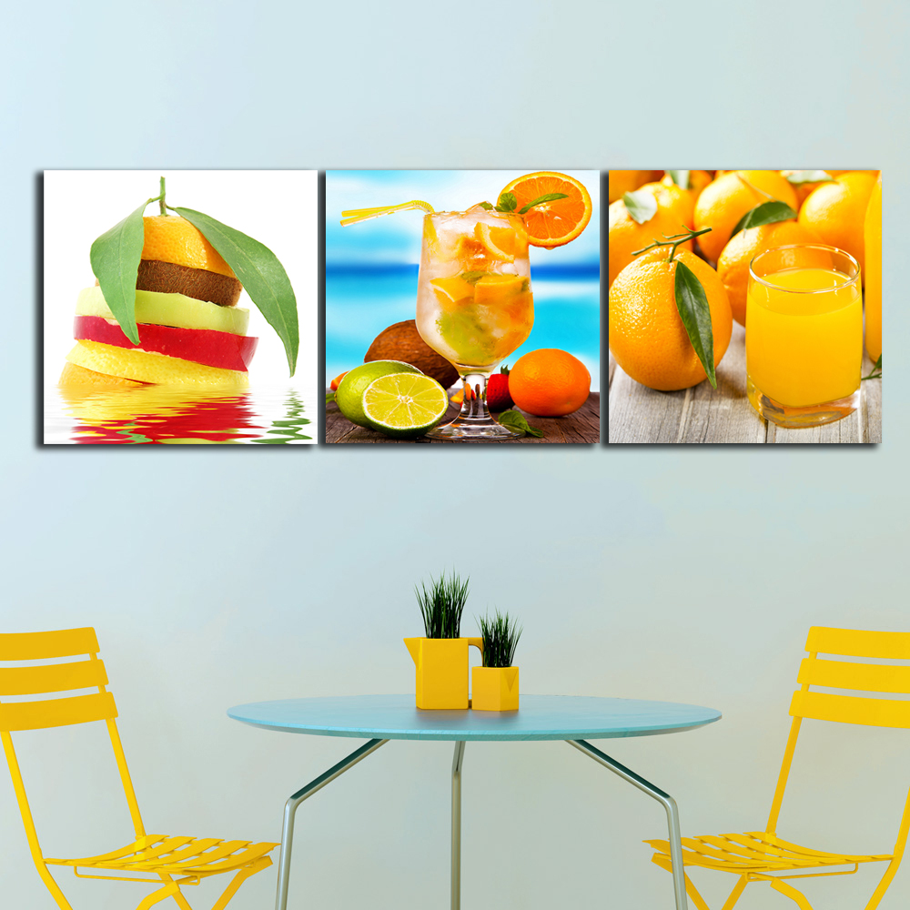 Unframed 3 Panels Drinks Juice Orange Paintings For The Kitchen ...