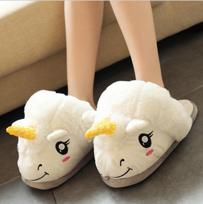 promotion cartoon warm winter indoor slippers <strong>plush</strong> unicorn slippers soft home slippers