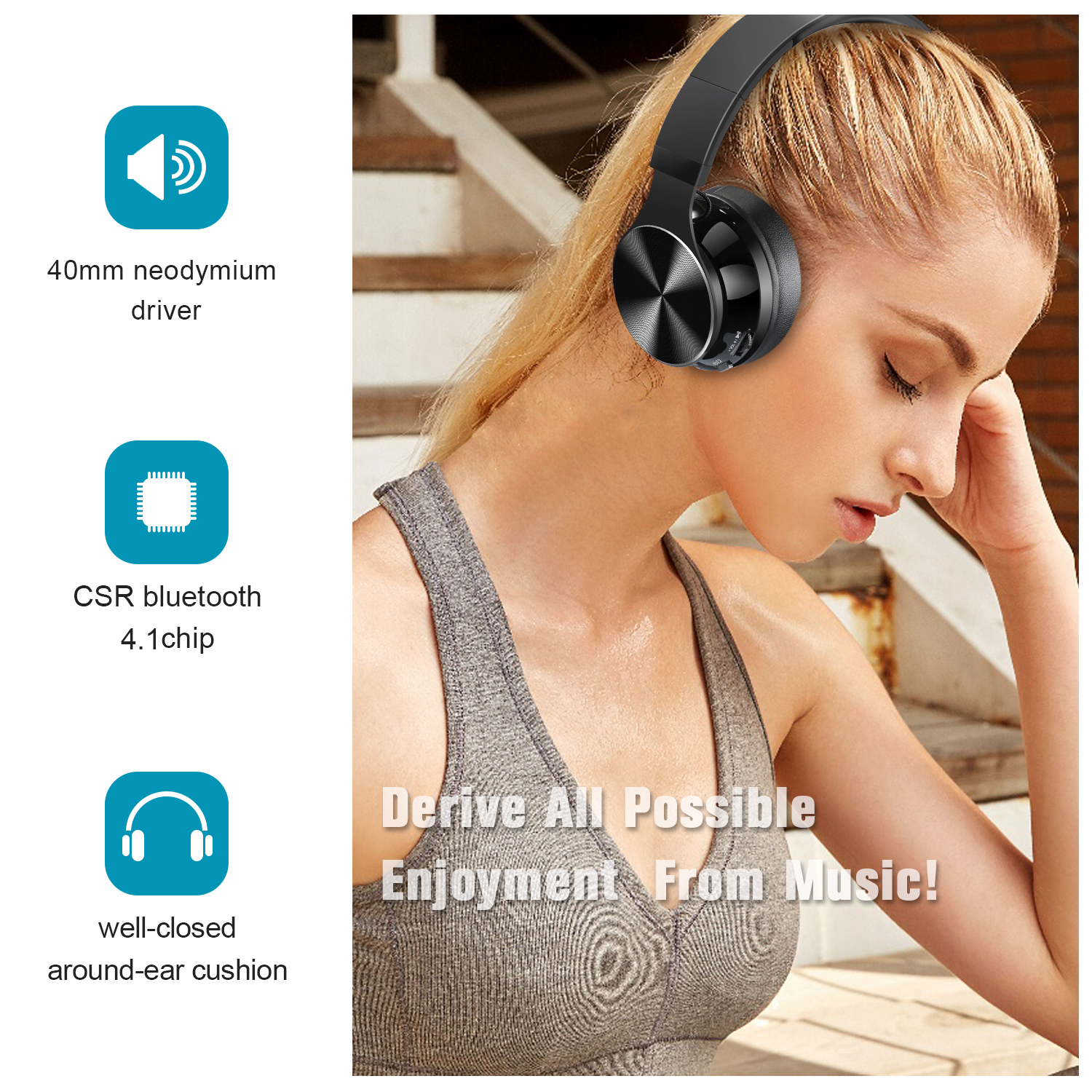 2018New Arrival Simple Style Volume Control Wireless Blue Tooth Earphone Blue headphones