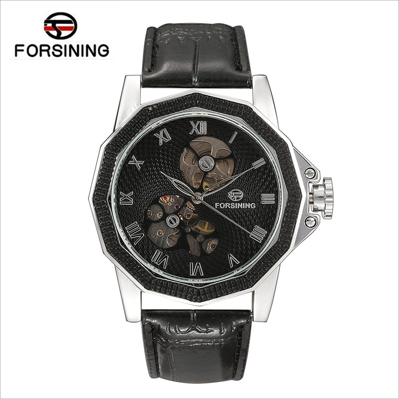 Forsinning new luxury casual clock men automatic watch skeleton business watches mechanical relogio male montre relojes watch