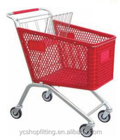 new design125L plastic supermarket shopping trolley cart