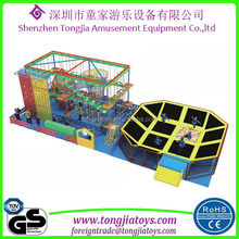 indoor rope course climbing amusement playground euqipment with kids adventure trampoline bed park