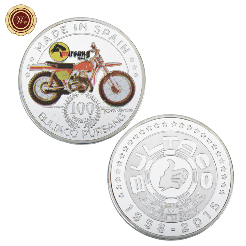 WR Motorcycle Patterned Silver Plated Metal Art Crafts Commemorative Challenge Coin Made in Spain Silver Coin with Plastic Cover