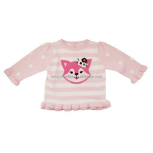 B8007 Baby pink and white striped sweater long-sleeved cute little fox