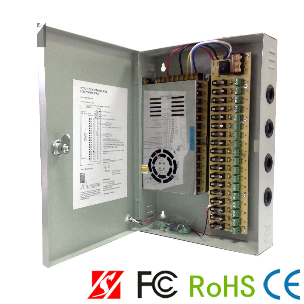 12V DC 20A Power Supply Distribution Box for CCTV Security Camera 18CH Ports BE