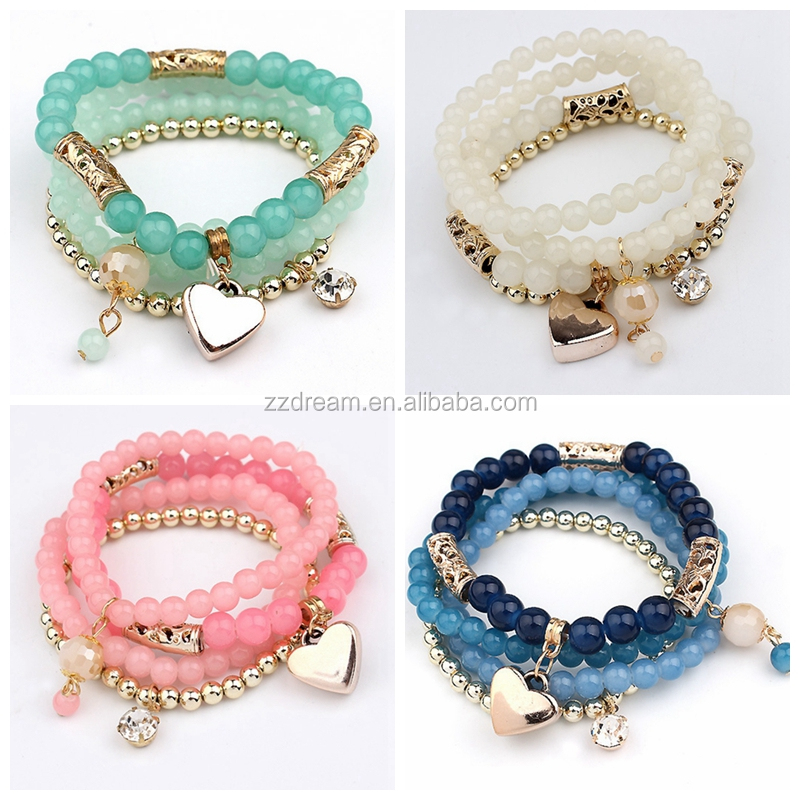 Promotional Kids Colorful Heart Charm Plastic Beads Bracelet
