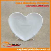 Wholesale customized design heart shaped porcelain plate