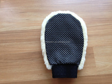 Popular one face Sheep Skin Car wash mitt Lambskin fur mittens/gloves