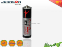 super made in China best r6 battery 1.5v aa r6 sum3 carbon zinc battery