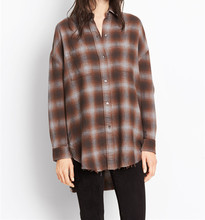Flannel fabric plaid botton front long sleeve woman long shirt