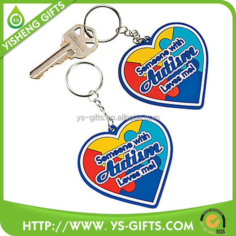 Custom engraved PVC plastic double heart shape keyring keychain