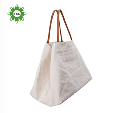 Fashion design leather bag handles natural cotton canvas tote bags with inside zipper pockets