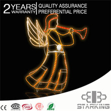 CE ROHS outdoor warm white rope light led christmas angel with trumpet IP65