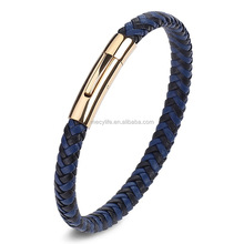 MECYLIFE Rose Gold Magnetic Clasp Woven Genuine Leather Blue Leather Bracelet