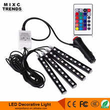 Wholesale 12V DC Wireless Remote RGB Car styling Interior LED Atmosphere light With cigar lighter