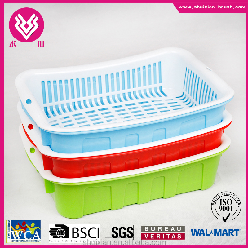 2016 new design hot sale rectangle colorful plastic PP fruit basket