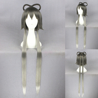 High quality 90cm long Straight ombre gray VOCALOID Chinglish anime cosplay ponytail wigs with ears