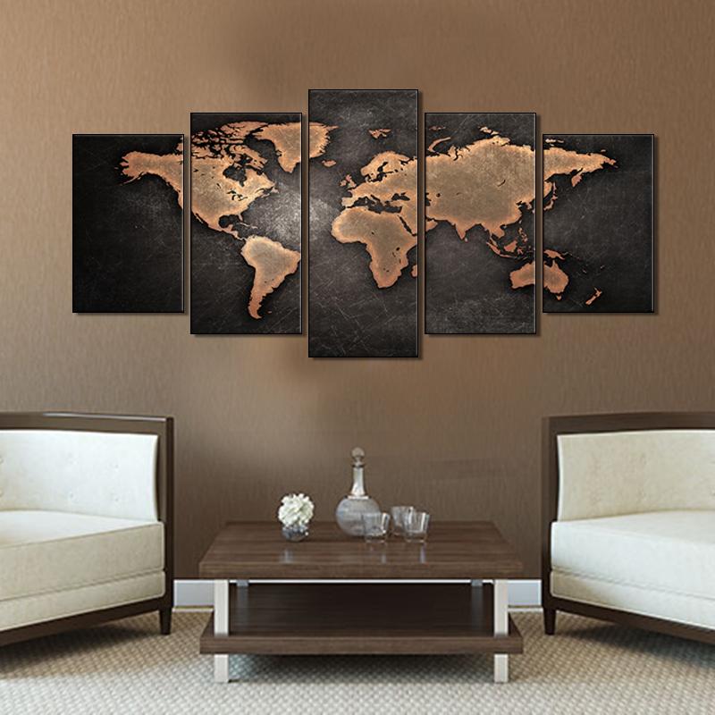 Unframed Vintage World Map Canvas Print 5 Pieces Globe World Map