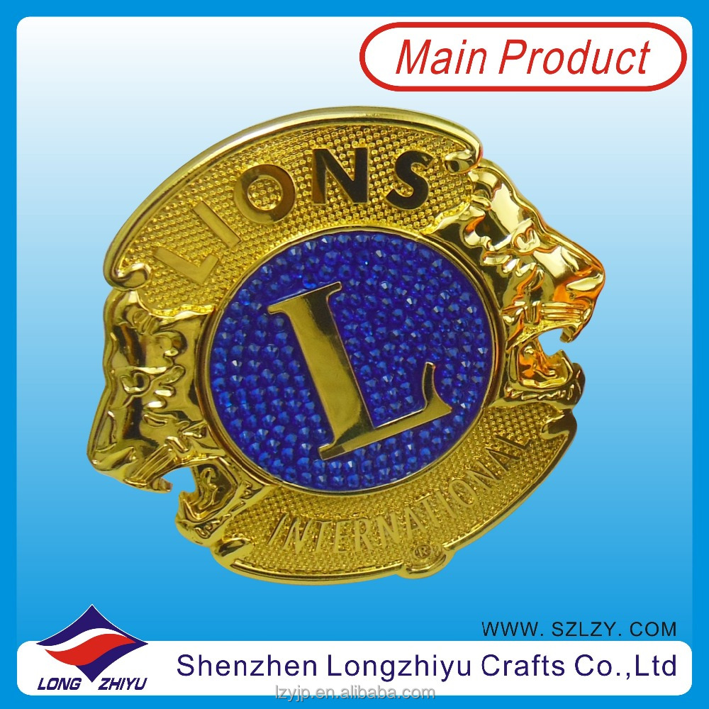 Custom 3D Metal Lions Club Car Grille Emblem 24K Gold Car Logo Badge