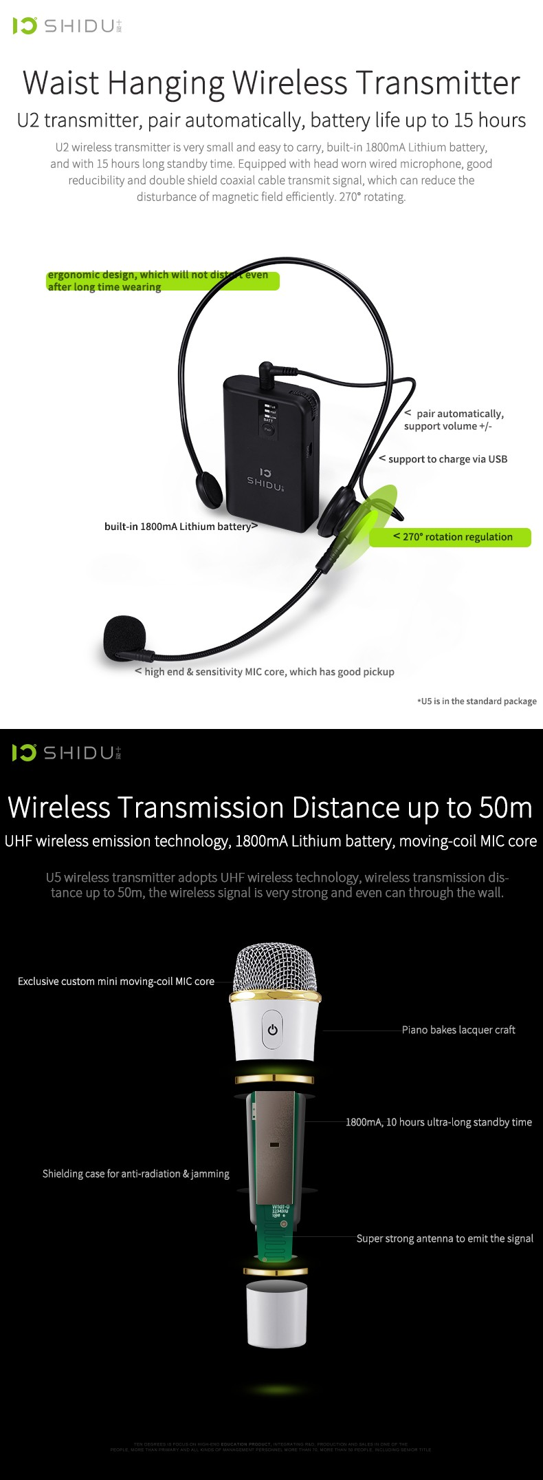 2017 New UHF Wireless Microphone SHIDU Factory SD-S92