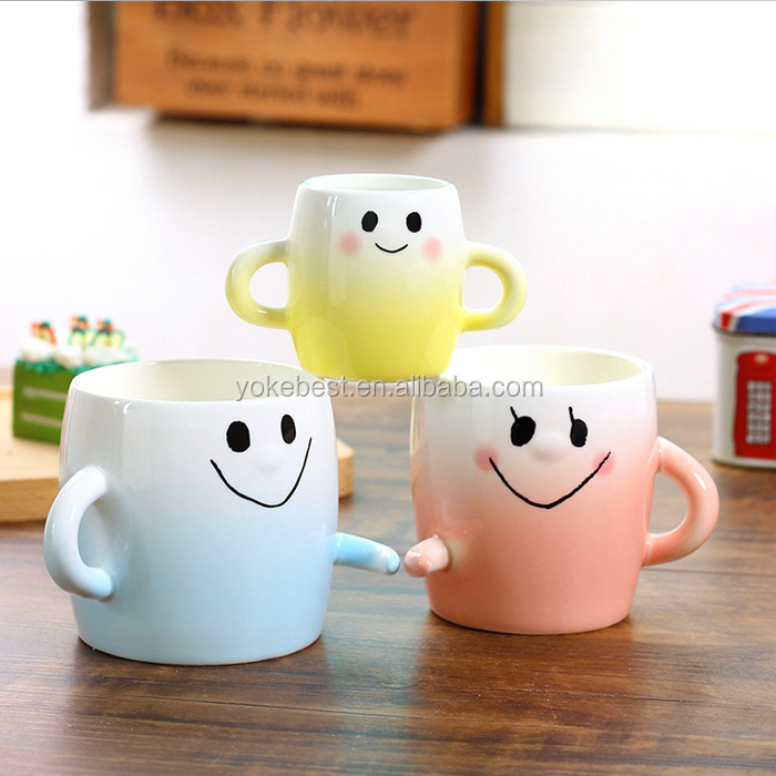 UCHOME Large Parent-child Cup Three Lovely Smiling Face Ceramic Mugs