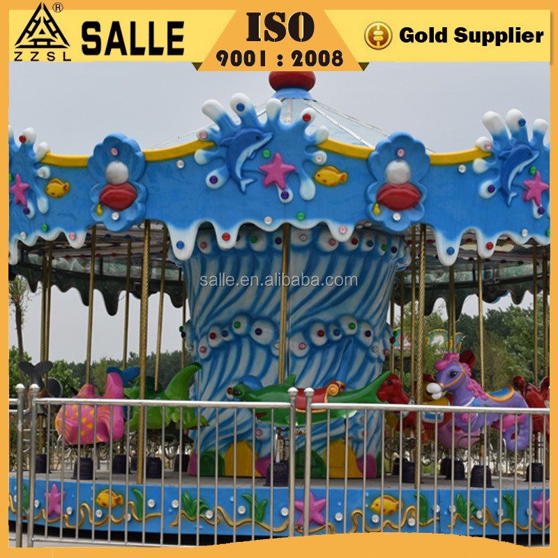 Professional manufacturer kids game ocean theme carousel ride electric merry-go-round
