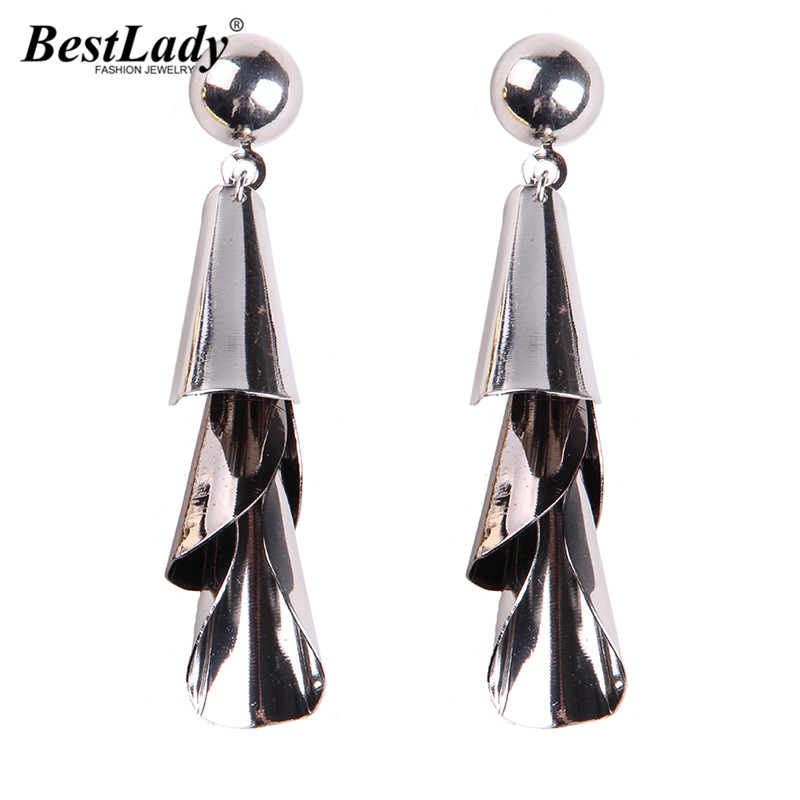 Barlaycs Hot Sale Wrap Metal Jewelry Pure Maxi Earrings Beads Vintage Party Gifts Women Girls Long Drop Dangle Earrings 5136