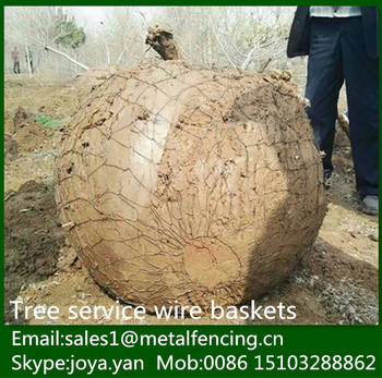 Many size metal wire woven solid root ball netting Christmas tree transplanting boxes tree wire mesh baskets