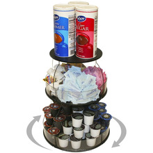 "jisen rotating Coffee Condiment Organizer that spins. Comes with a Removable Tube on Top for Stirrers. Only 12"" W"