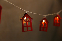warm led iron red house string light
