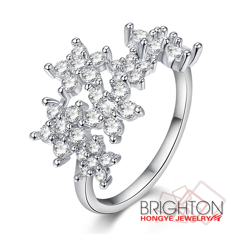 Zircon Flower Shaped Ring Jewelry 1-1874-3460