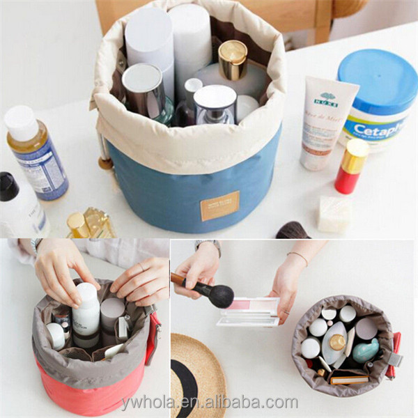 Useful Women Cosmetic Bucket Shape Cylindrical Travel Makeup Case