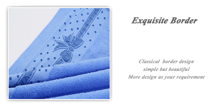 Popular white blue 100% cotton workout bath shower towel with border