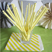 Yellow and white thin Sailor Stripe paper straws for birthday drinking paper straws