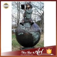 Outdoor Bronze Girl Sitting on Globe Reading Sculpture