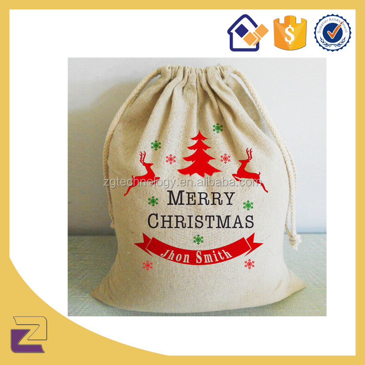 Custom Good Quantity Hemp Bag with Drawstring Christmas Cloth Bags with Drawstring Canvas Bags