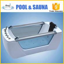 large size one person acrylic transparent whirlpool massage bath hot tub with surfing jets