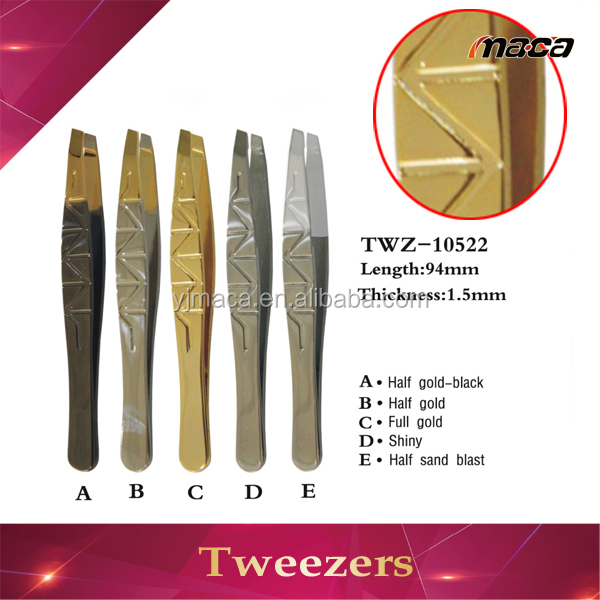 TW1012 OEM manufacture gold-plated custom series eyebrow tweezer all gold tweezers