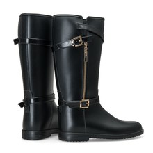 Tongpu Sex lady PVC double side buckle horse riding long boots with zip