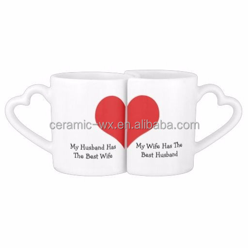 Wholesale personalised heart shaped couple valentine mugs