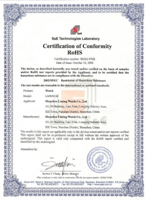 certification of conformity ROSH