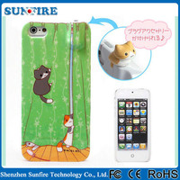 Cute cat silicon case with earphone holder