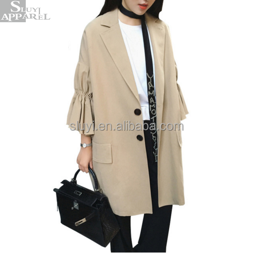 Clothes Women Coats Original Pleated Ruffles Flare Sleeve Woman trench Coat 2017 Autumn New All-matched Khaki Apparel