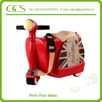 abs cartoon kids luggage/trolley bags 2014 kids school bag scooter aluminium black folding wheels luggage case