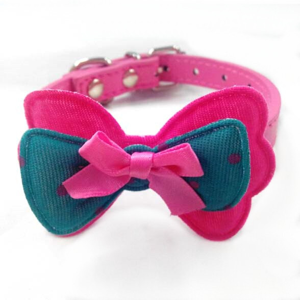 wholesale pet products pink Bow Nylon leather pet dog&cat Collar/cat neckband