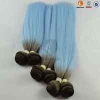 Great mix hair human hair with synthetic hair weaving/ Blue color yaki straight